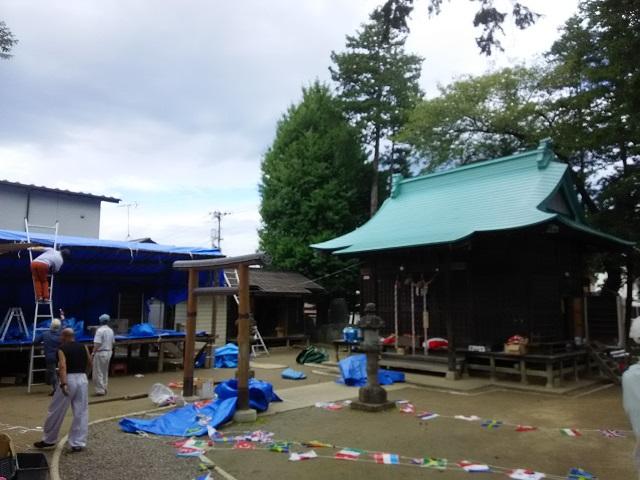 七社宮神社秋まつりの片付け作業