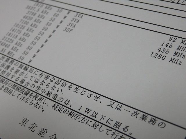 無線局免許状(アマチュア局)